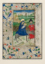 ILLUMINATED MANUSCRIPT LEAF The Flight into Egypt, Mary and Child on a donkey, led by Joseph against
