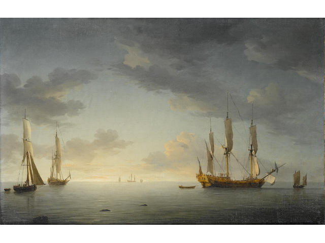 Charles Brooking (British, 1723-1759) Sunset. A ship-rigged Royal Yacht in a light air with another yacht and a cutter 25.4 x 38.4cm. (10 x 15 1/8in.)