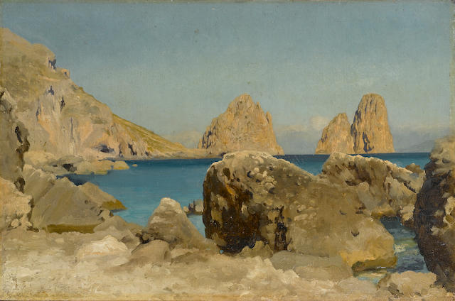 Frederic, Lord Leighton, PRA (British 1830-1896) Rocks of the Sirens, Capri 24 x 37 cm. (9 1/2 x 14 1/2 in.)