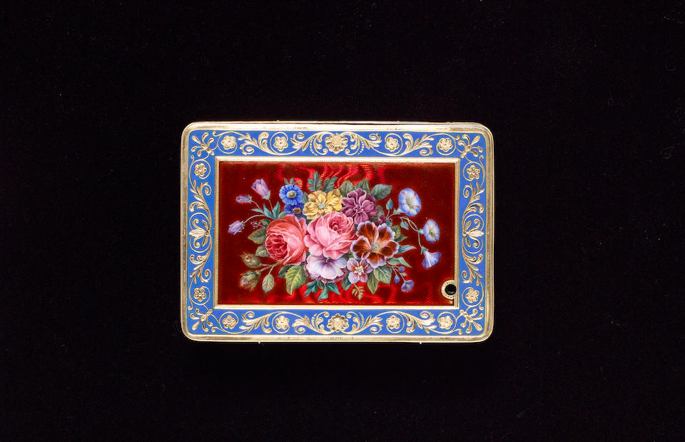 A very fine Piguet & Meylan gold, enamel and pearl musical snuff box, Swiss, circa 1820, case probably by Remond,