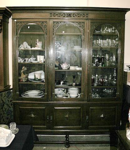 A circa 1920s or 1930s oak bookcase