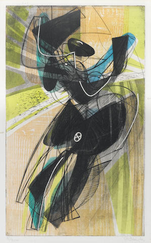 Stanley William Hayter (British, 1901-1989) Danse du soleil Engraving and soft ground etching, 1951, printed in colours, on Arches, signed and numbered 81/200 in pencil, printed by Hayter and Atelier 17, published by La Guilde Internationale de la Gravure, Geneva; the red faded, faint time staining, unexamined out of the frame,  395 x 235mm (15 1/2 x 9 1/4in)(PL)