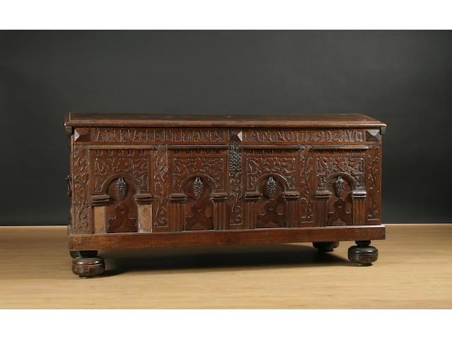 A large 18th century oak coffer, German,
