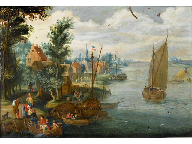 Follower of Isaac van Oosten A river landscape with figures loading barges and a ferry in the foregr