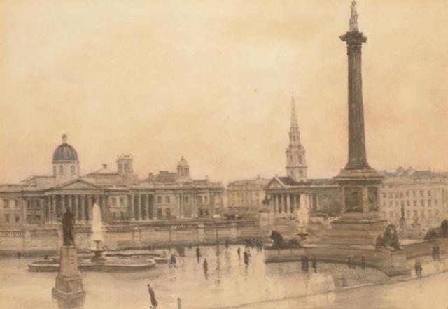 Jules Lessore  (French/British, 1849-1892) Trafalgar Square, London