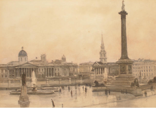 Jules Lessore  (French/British, 1849-1892) Trafalgar Square, London