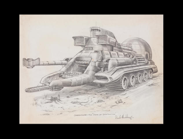 Two original drawings of the Crabblogger and trailer from Thunderbirds 1965-6, from Path of Destruction,