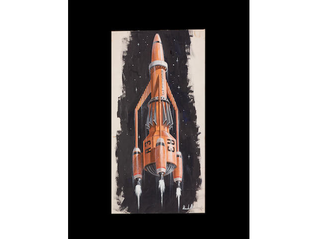 Thunderbirds 1965-66 Original painting Thunderbird 3 Concept.