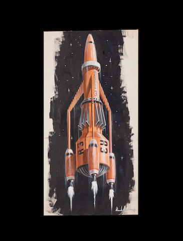 An original concept painting of Thunderbird 3, from Thunderbirds 1965-6,