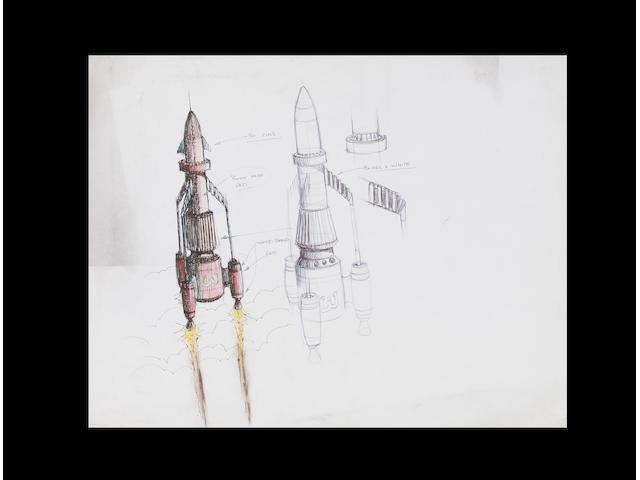 An original concept drawing Thunderbird 3, from Thunderbirds 1965-6