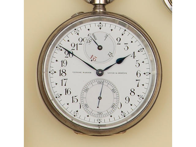 Ulysse Nardin, Locle & Genève: A silver cased open face chronometer pocket watch with 24 hour dial