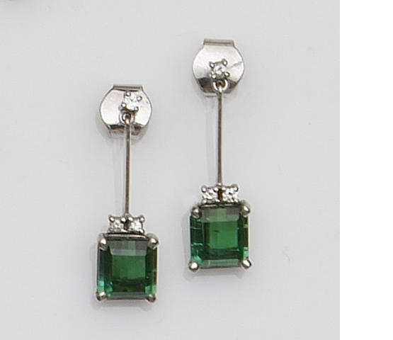 A pair of diamond and tourmaline earpendants