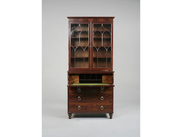 A Regency mahogany secretaire bookcase