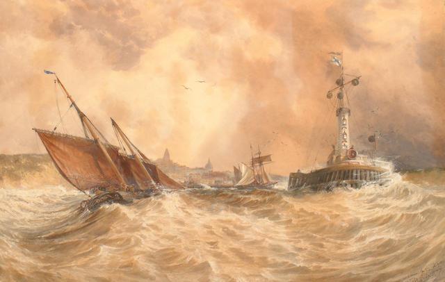 Thomas Bush Hardy (British, 1842-1897) 'At the harbour's marth'.