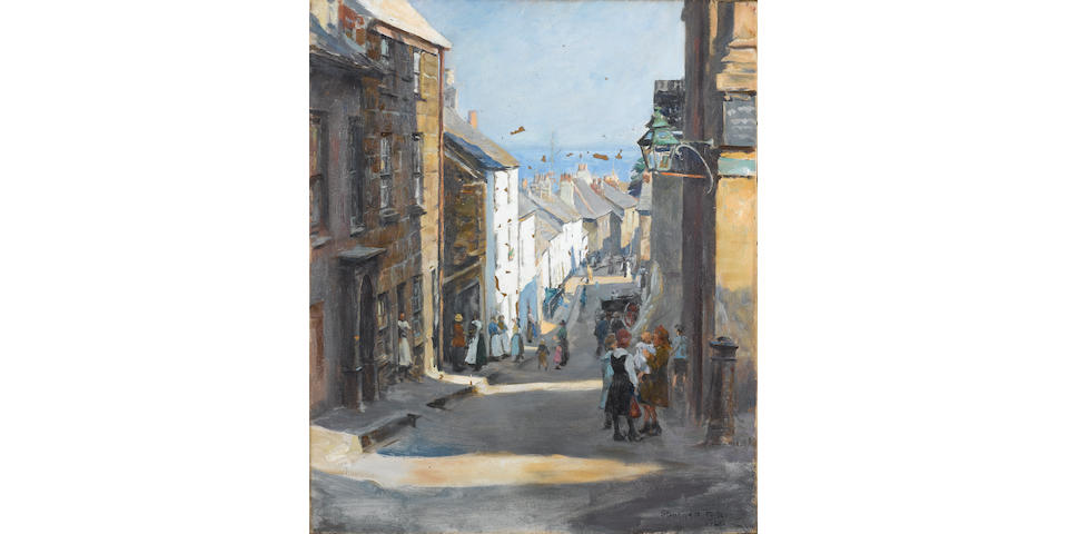 Stanhope Alexander Forbes, RA (British 1857-1947) An old quarter of Penzance 61.5 x 51 cm. (24 1/4 x 20 in.)