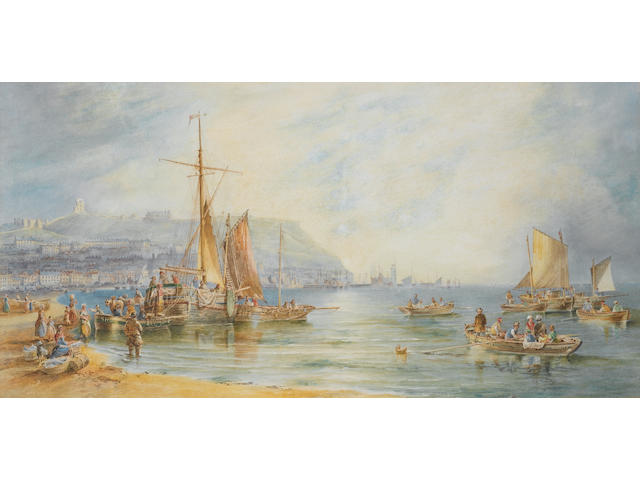 J W Carmichael, 'Old Scarborough from the West', signed and dated 1867, watercolour, 49 x 97cm