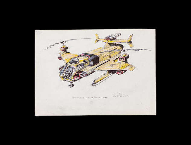 Thunderbirds Are Go 1966 Drawing for Air Sea Rescue heli craft.