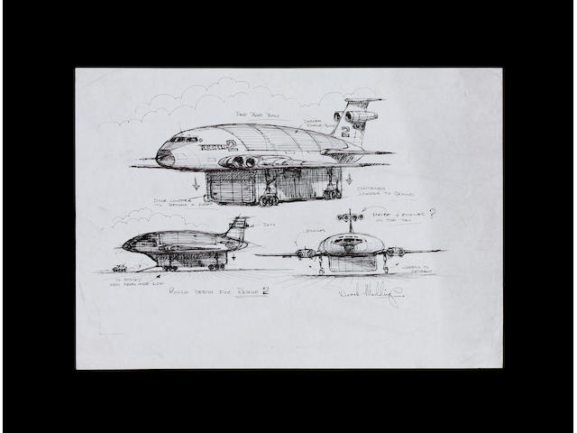 An original design concept drawing for Thunderbird 2, from Thunderbirds 1965-6,