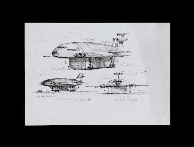 An original design concept drawing for Thunderbird 2, from Thunderbirds 1965-6,