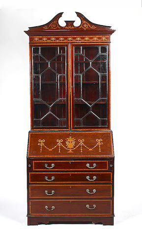 An Edwardian mahogany and satinwood banded bureau bookcase