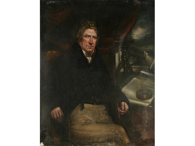 British School circa 1820 A portrait of a gentleman, seated by a window with telescope and a plan of Leeds on a table,