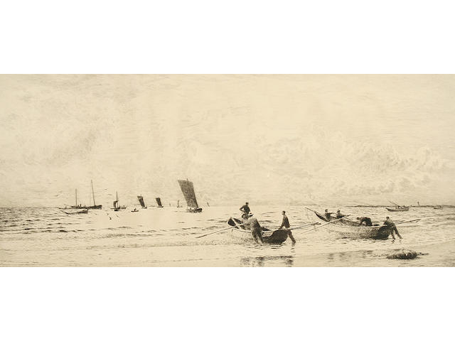 "William Lionel Wyllie ""Cobles at Newbiggin, Northumberland"","