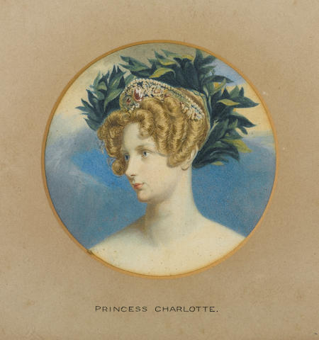English School, Princess Charlotte Augusta of Wales (1796-1817), her fair hair adorned with jewelled diadem and laurel leaves