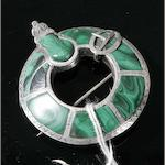 A silver and malachite plaid brooch