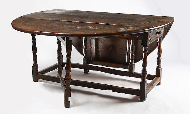A late 17th or early 18th century oak gateleg table