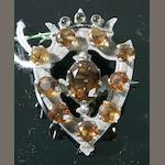 A Victorian citrine-set luckenbooth brooch