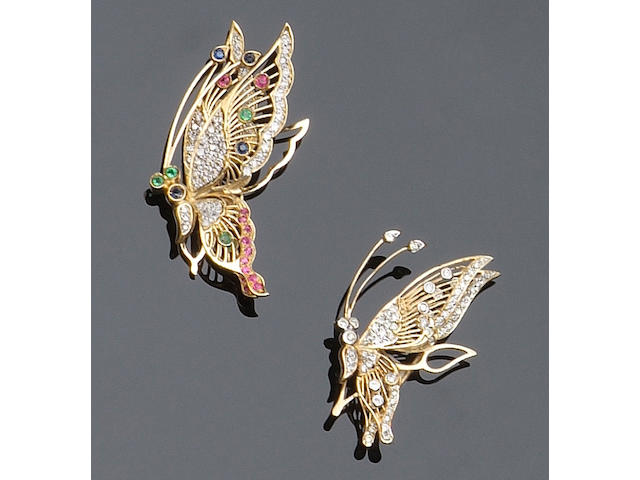 A gem set butterfly brooch,