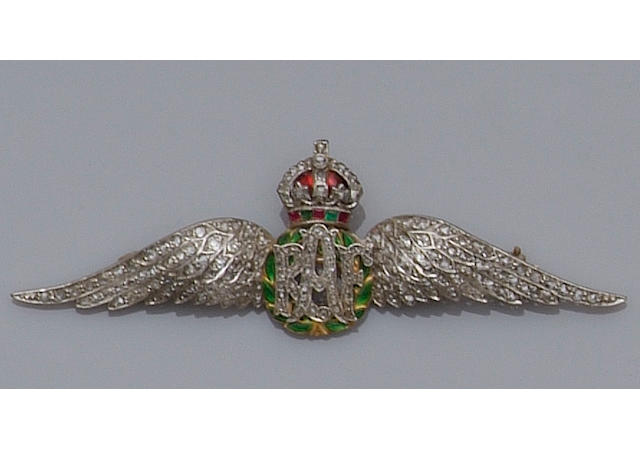 A diamond and gem set Royal Air Force wings brooch