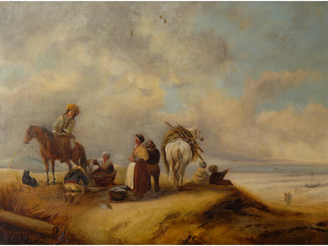 Follower of Jan Wouwerman A view of a seashore with fishwives offering fish to traders