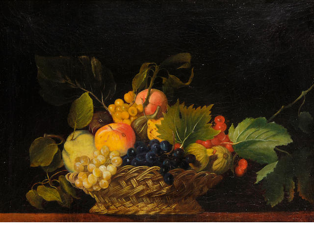 English School (late 18th/early 19th Century) A still life of fruit in a basket