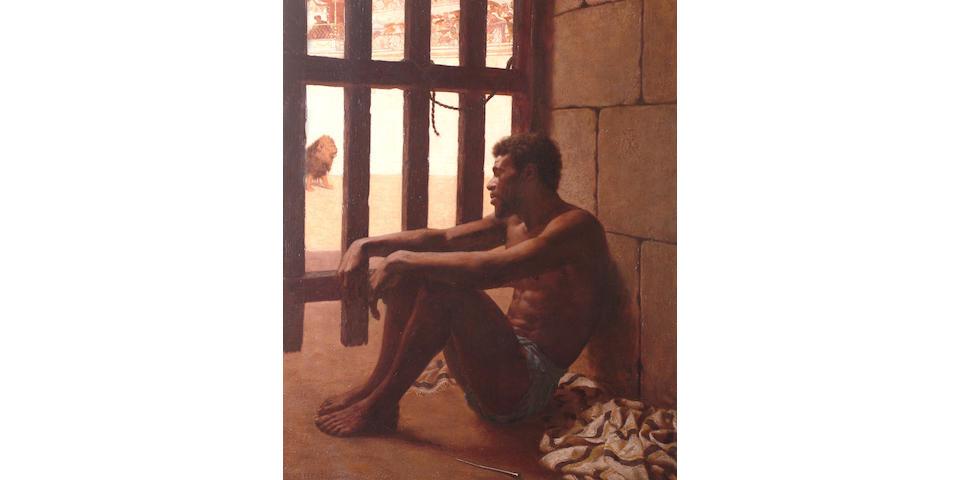 Edmund Blair Leighton (British, 1853-1922) A Gladiator in thought.