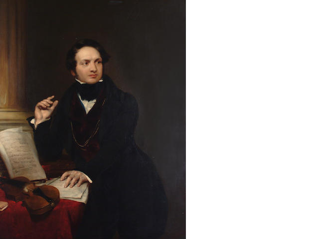 English School circa 1840 Portrait of an Italian composer seated at a desk, with a violin and score.