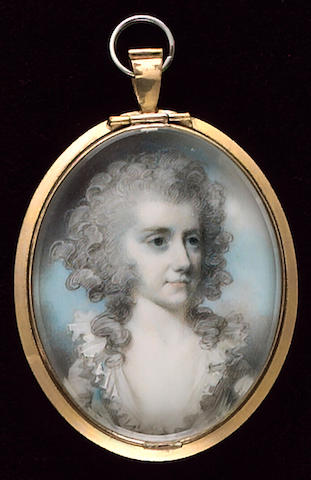 George Engleheart, A Lady, wearing blue dress, white fichu, her hair powdered