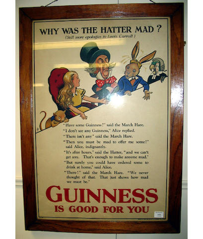 "An original Guinness poster ""Why was the Hatter Mad? circa 1930"