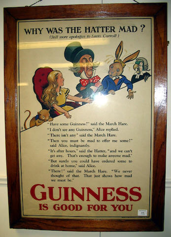 """An original Guinness poster """"Why was the Hatter Mad? circa 1930"""