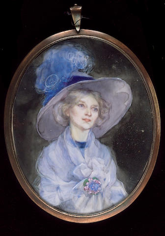 Bess Norriss, A Lady, wearing blue hat adorned with an ostrich feather, blue dress and  matching robe and floral brooch