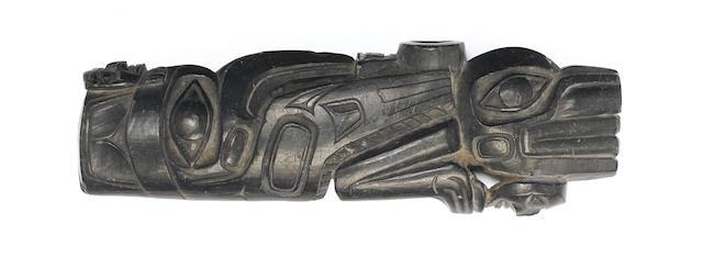 A Haida argillite panel pipe 16cm.