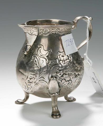 An George II Cream Jug marks rubbed, by James Ker, Edinburgh circa 1740,