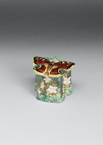 A George Jones majolica butterfly pomade box and cover dated 1874