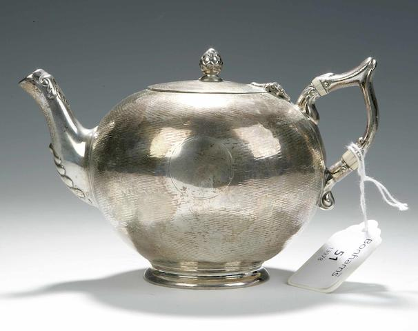 A small Victorian Teapot By J&W Marshall, Edinburgh 1857,