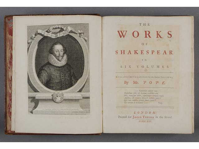 SHAKESPEARE (WILLIAM) The Works... Collated and Corrected from the former Editions, by Mr. Pope, 7 vol.