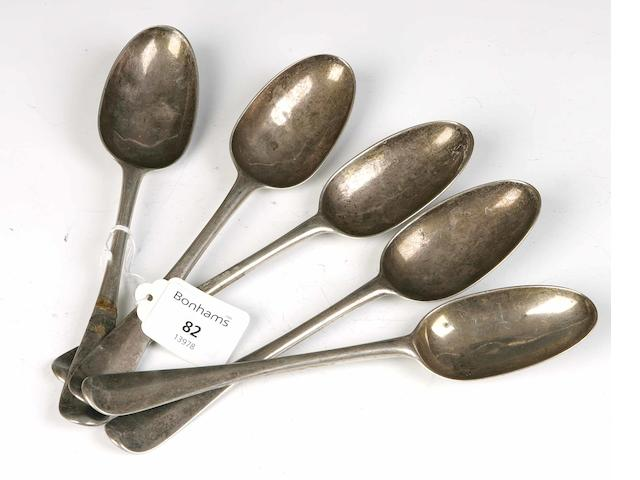 Five Tablespoons By Lothian & Robertson, Edinburgh 1756,