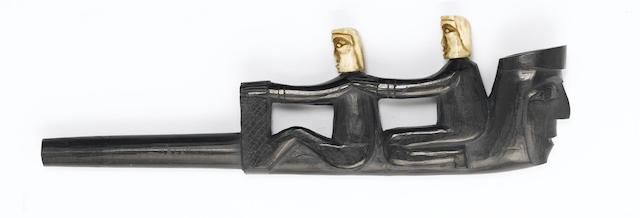 A Haida argillite effigy clay pipe type 20.5cm.