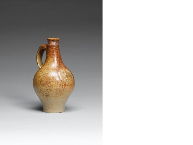 A rare early London (Fulham) stoneware tavern bottle circa 1675