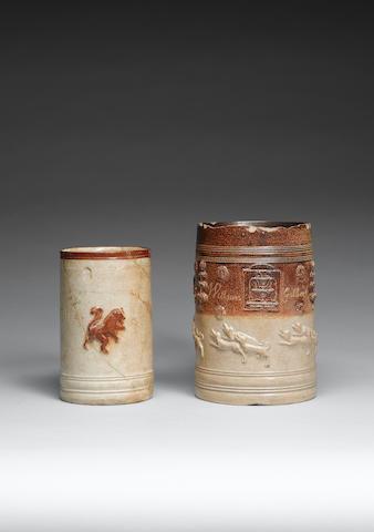A rare London (Southwark, Lambeth or Vauxhall) stoneware tavern mug early 18th century