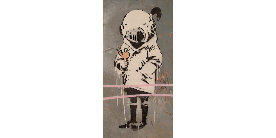 Banksy (British, b.1974) No.5, Young child with bird.